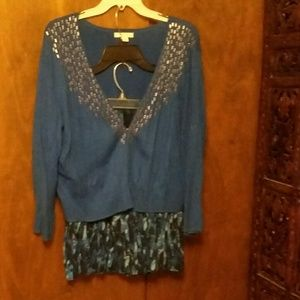 NEW YORK & CO - BLUE CARDIGAN AND PLEATED SKIRT